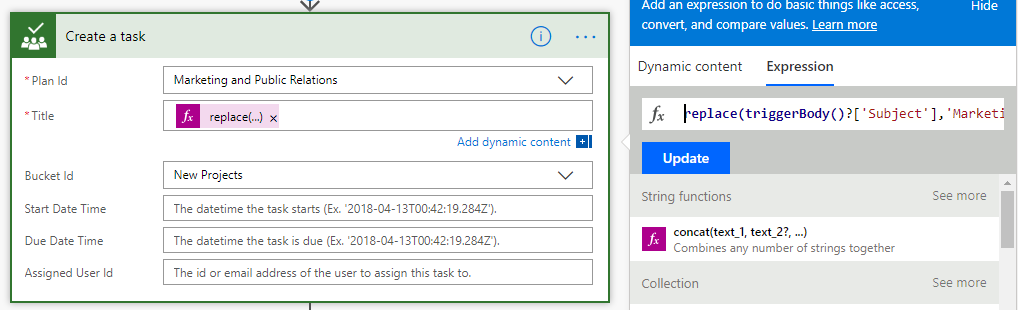 Microsoft Flow: Creating a Planner task from an email
